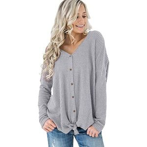 Causal Button down thermal cardigan